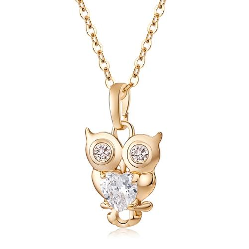 Moda Porpular joyas de oro plateado la cadena de cristal blanco búho colgante collar de ropa para las mujeres