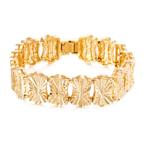 Popular Gold Plated Jewelry Moda Mulheres Lady High Quality Beautiful Wide Bracelet