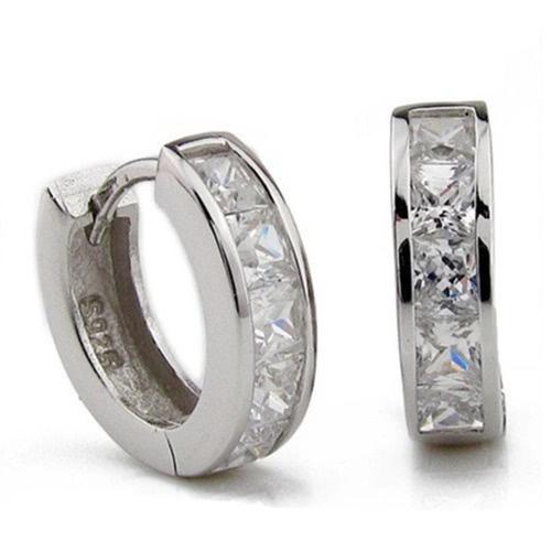 Acessório de moda de design simples de prata de prata de prata pequeno quadrado redondo de argola de cristal Huggie