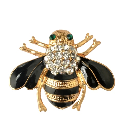 Moda Cute Bee Brooch Bouquet Hat Casaco cachecol Acessório Crystal Breastpin para Mulheres Party