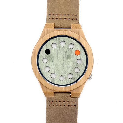 BOBOBIRD Mode Lässig Bambus Uhr Unisex Quarzuhr Echtes Leder Holz Armbanduhr Männer Frauen