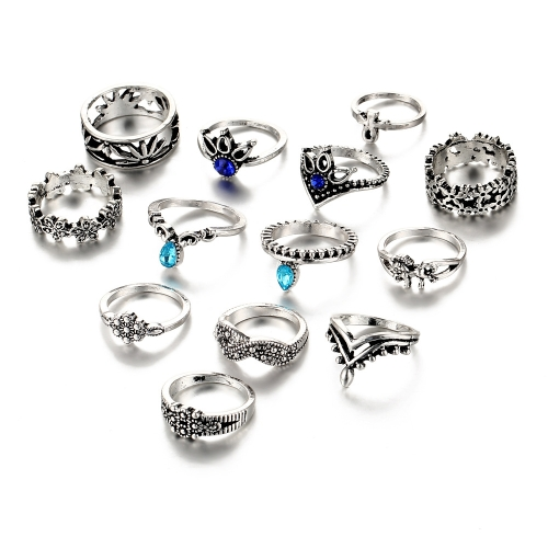 Fashion Retro 13Pcs Ring Set Carved Hollowed-out Unicorn Lotus Diamond Ring for Women Girls