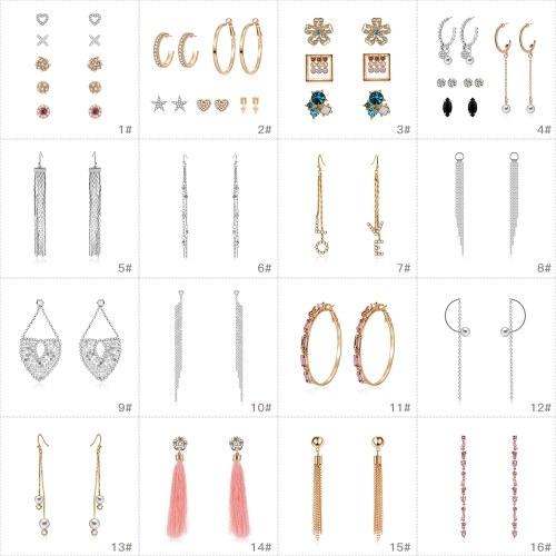 Mode-Legierung Eingebettet Kristall Quaste Ohrringe Ohrstecker Anhänger Ohrringe für Frauen Schmuck