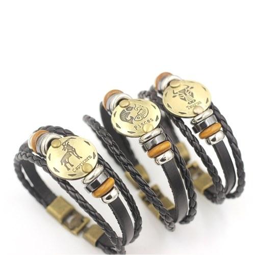 12 Konstellationen Armband Modeschmuck Lederarmband Männer Casual Persönlichkeit Sternzeichen Punk Armband