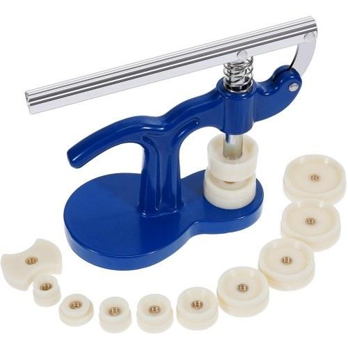 Watch Back Case Closer Watchmaker Press Set Repair Tool Kit Plastic Case With 12 Dies