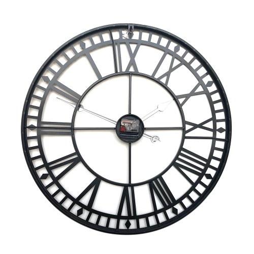 Reloj de pared redondo Negro Vintage Mute Movimiento de cuarzo Reloj Decoratieve