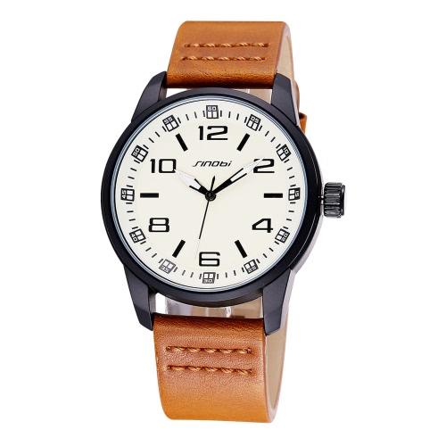 SINOBI High Quality PU Leather Simple Watch Dial Man Quartz Wristwatch
