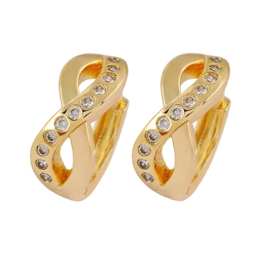 Moda Luksusowe Lustrzane 18K złote Plater Kryształ Rhinestone Cross Hoop Biżuteria Kolczyki dla Kobiet Bride Girl Wedding Party