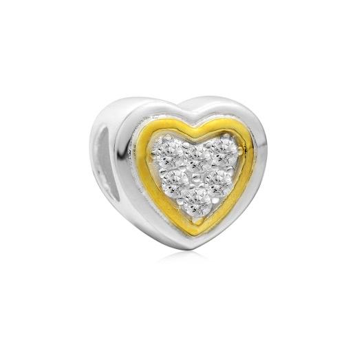 Romacci S925 plata esterlina CZ diamante amor corazón encanto grano para 3mm serpiente cadena pulsera brazalete collar accesorio de la joyería DIY mujeres finas