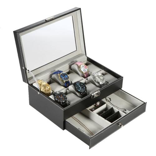 Zweischichtige PU Leder 12 Raster Watch Schmuck Display Box RS abschließbar Schmuck Speicher Organizer mit Watch-Kissen