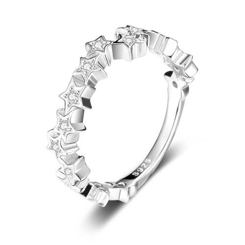 Proposta em forma de estrela JURE 925 Silver Ring Zirconia casamento anel de noivado de Halo nupcial substituição