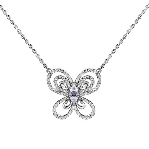JURE S925 Solid Sterling Silver Chain Necklace The One Jewelry Zirconia Butterfly-shaped 18 Inch