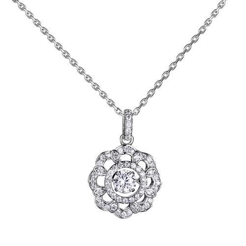 Plata JURE moda S925 colgante rotativo del Zirconia Colgante de la chispa de la flor en forma de collar de 18 pulgadas