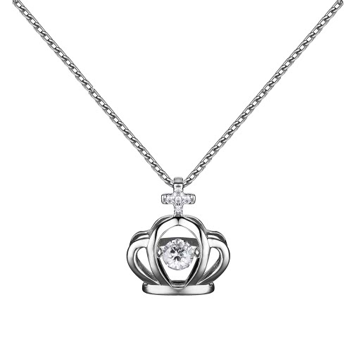 JURE Fashionable S925 Sterling Silver Pendant Rotatable Zirconia Sparkle Pendant Necklace Crown-shaped 18 Inch