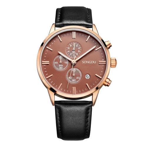 SONGDU Moda Lujo Luminoso Hombres De Cuero Auténtico Reloj De Cuarzo Chrono 30M Impermeable De Negocios Reloj De Pulsera + Caja