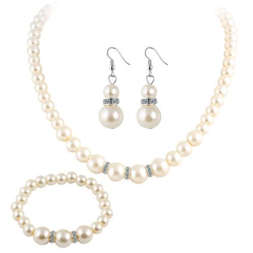 3 Pcs Elegante Moda Elegante Euramerican Pérola Cristal Diamante Colar Brincos Ear Stud Bracelet Jóias Set Acessórios Presentes para Mulheres Noiva Casamento