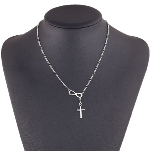 Jóias de moda feminina Elegant Silver Plated Infinity Cross Pendant Chain Cadeia Short Necklace