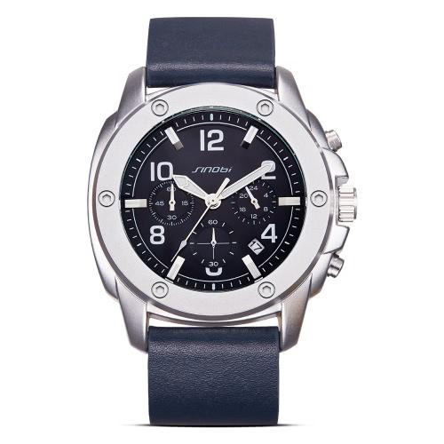 SINOBI Art- und Weisebeiläufige Quarz-Uhr 3ATM Wasser-beständige Mann-Uhren Luminous Armbanduhr-männlicher Kalender