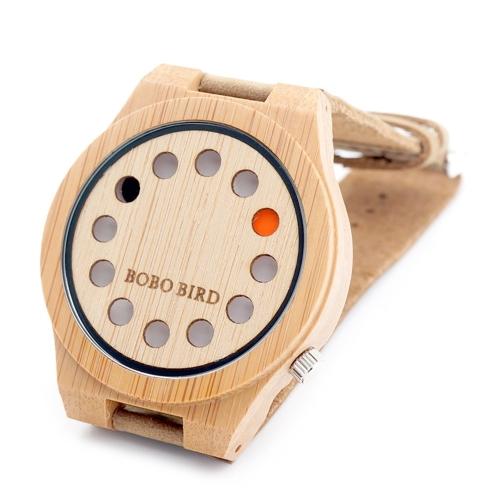 BOBOBIRD mody przypadkowy zegarek bambusowy Unisex zegarek kwarcowy prawdziwy skórzany zegarek na rękę kobiet