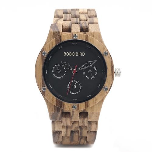 BOBOBIRD Fashion Zebrawood Men Relógios Quartz Wooden Casual Relógio de pulso Man Calendar