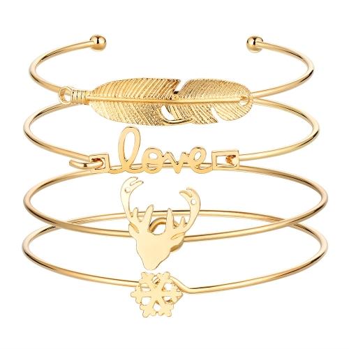Fashion 4Pcs Bracelet Set Letter Love Cute Antler Feather Shape Alloy Bracelets Opening Design Women Personality Jewelry