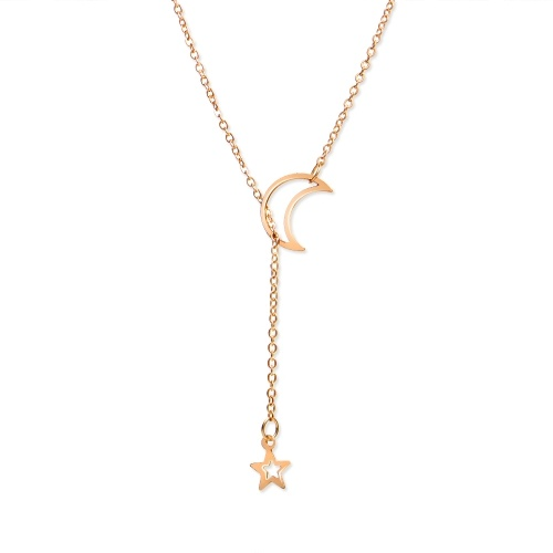 Fashion Trendy Moon Star Long Pendant Necklace for Women Simple Charming Jewelry