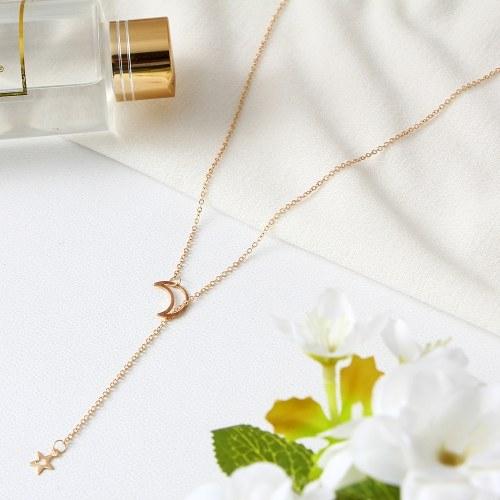 Mode Trendy Mond Sterne Lange Anhänger Halskette für Frauen Einfache Charming Schmuck