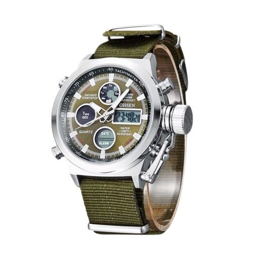 OHSEN Мужская Мода Спортивные Цифровые Часы Водонепроницаемые Светящиеся Руки Кварцевые Наручные Часы