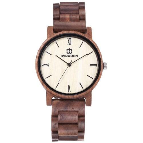 Montre en bois pour homme IWOODEN montre en bois analogique Quartz Ultra léger affaires décontractées montres classique Vintage montre-bracelet