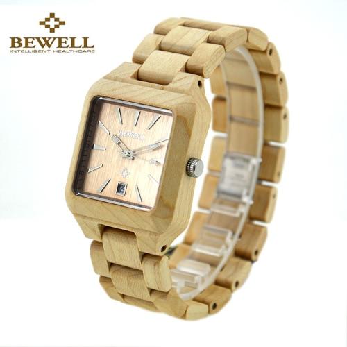 BEWELL cuarzo análogo de moda hipoalergénico sana del reloj de madera con el calendario ligero Inmaculada de sándalo rojo arce ébano Unisex reloj de aniversario de boda