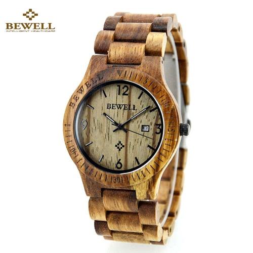 Resistente à água BeWell de alta qualidade Marca Moda Madeira relógio de quartzo Luminous Homens Mulheres Zebrano Relógio de pulso ocasional de madeira com calendário