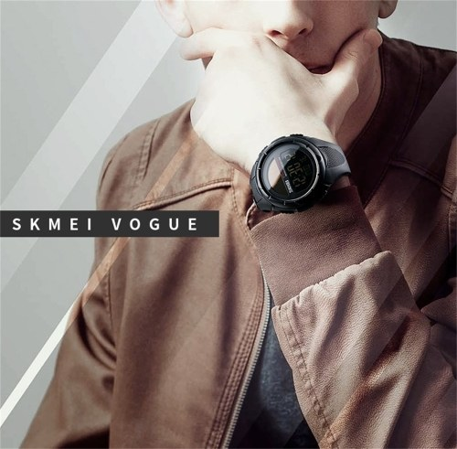 SKMEI 1405 Men Analog Digital Watch Fashion Casual Sports Wristwatch 5ATM Waterproof Leather Strap Backlight Multifunctional Watches Relogio Masculino фото