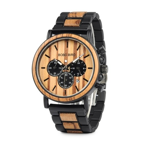 BOBO BIRD Wooden Quartz Watch with Stainless Steel Band Men's Fashion Wristwatch Date Chronograph Display