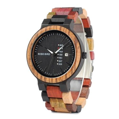 BOBO BIRD Montre en bois pour homme avec affichage de la date et de la semaine Chronographe Montre-bracelet de mode Business
