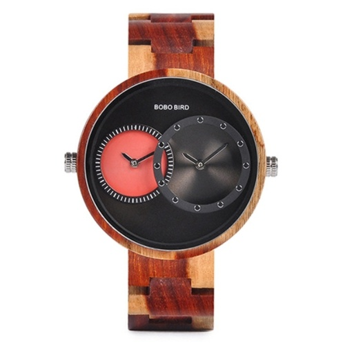 BOBO BIRD Wooden Watch Quartz Movement 2 Time Zone Display Gift with Box for Men Women, TOMTOP  - buy with discount