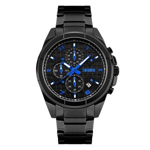 SKMEI Professional água 3ATM Homens resistente Analog Watch Negócios com 3 Sub-dial relógio de pulso pulseira de aço inoxidável resistente
