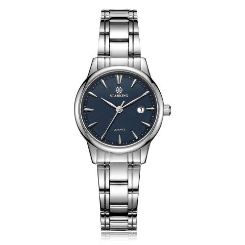 Starking Edelstahl 3 ATM Water Resistant Charming analoge Quarz-Uhr-elegante Frauen-OL Geschäfts-Armbanduhr mit Kalender