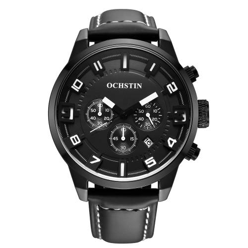 OCHSTIN 3ATM Wodoodporny Mężczyźni Oryginalny skórzany pasek analogowy zegarek kwarcowy Doskonały człowiek zegarek z kalendarzem