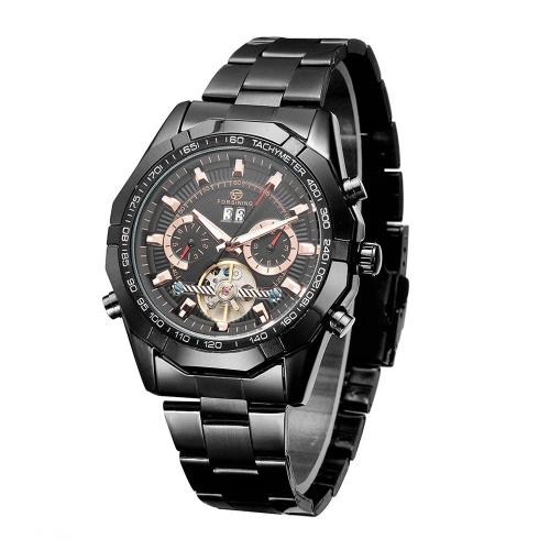 Alta calidad automático reloj mecánico automático transparente de nuevo caso de aleación correa negocio hombre reloj de pulsera día fecha con calendario y taquímetro