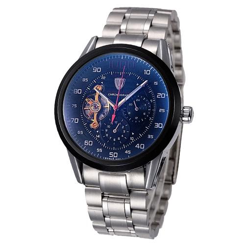 TEVISE excelente esqueleto automático para homens relógio mecânico luminosa 3ATM Water-resistant negócios homens relógio de pulso com 2 mostradores