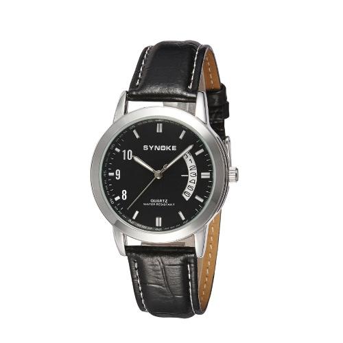SYNOKE elegante negócio simples homens relógio de pulso Real couro cinta Casual vestido de homens quartzo relógio com data