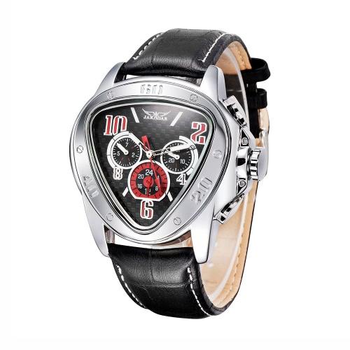 GANADOR moda Cool triángulo caso hombres automático reloj mecánico correa de cuero con Sub-diales semana/fecha / 24H hombres reloj de pulsera