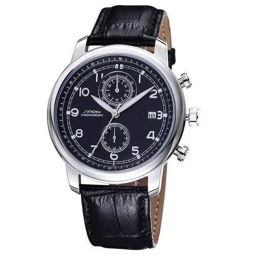 SINOBI con clase alta calidad PU cuero correa Unisex reloj moderno de cuarzo reloj de pulsera con calendario