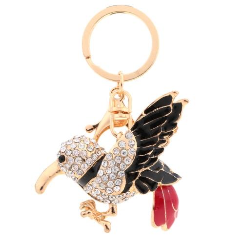 Moda esmalte pássaro Dangle pingente chaveiro Cristal strass Animal Keyring jóias carro chaveiro bolsa saco encanto presente de acessório