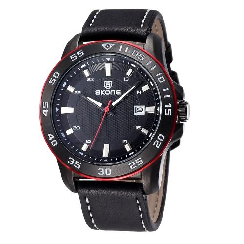 Reloj de pulsera cuarzo estilo hombres SKONE helado PU correa de cuero resistente al agua reloj con calendario