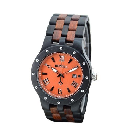 BEWELL Trendy Wodoodporny Lekki Luminous Drewniany Quartz Watch z Kalendarzem dla Unisex