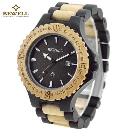 BEWELL alta calidad ligero única madera Simple luminoso reloj de pulsera reloj de hombres de moda de cuarzo analógica con calendario de madera de ébano con madera de arce