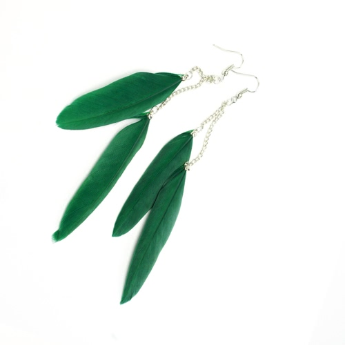 New Fashion Long Feather Chain Cute Drop Dangle Chandelier Earring Eardrop Party Jewelry Accessory Gift