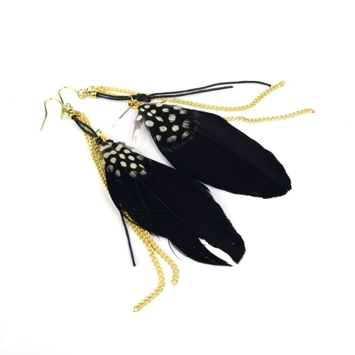 Hübsch lange Feder Kette Kronleuchter Drop Dangle Ohrring Ohrhänger Schmuck Zubehör Geschenk für Frauen Mädchen