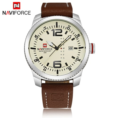 NAVIFORCE Classic Luxury Analog Quartz Watch 3ATM Water Resistant High Quality Comfortable PU Watchband Casual Man Wristwatch with Date/Weeks Display
